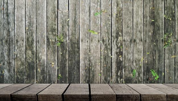 Étagère en bois vide sur un mur en bois pour l'affichage des produits
