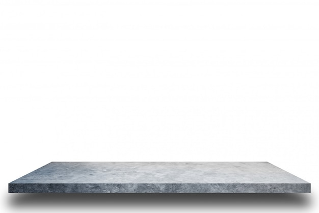 Étagère en ciment et arrière-plans de mur en béton blanc, pour la présentation du produit.