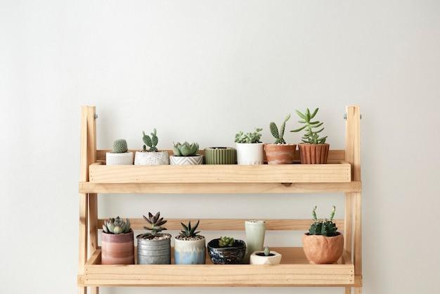 Étagère à plantes en bois contre un mur blanc