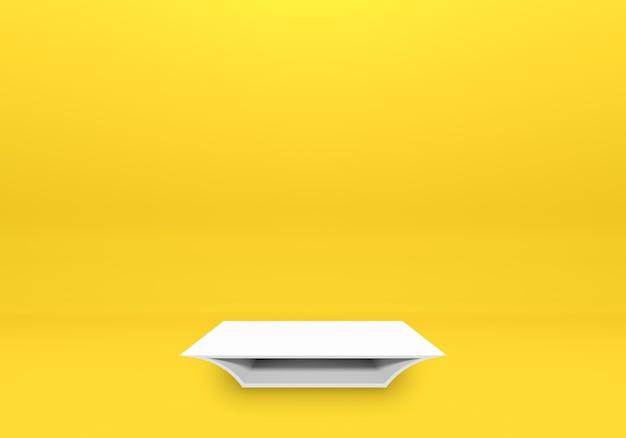 Étagère de podium blanc ou présentoir de piédestal vide sur fond jaune avec un style minimal. support vierge pour le placement de produit. rendu 3d de photos premium