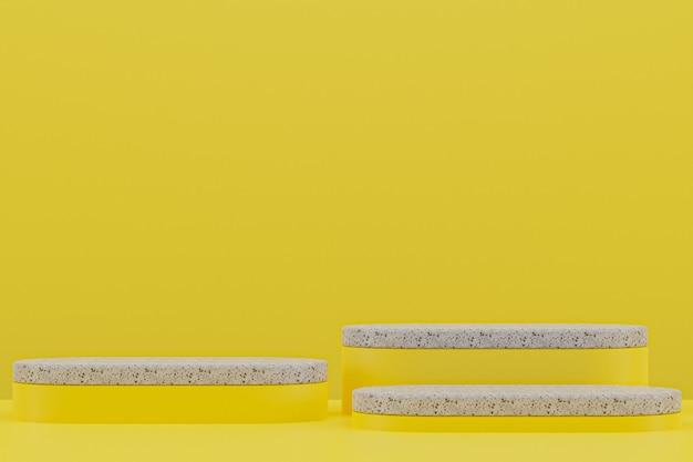 Étagère de podium en marbre ou style minimal de stand de produit vide sur fond jaune pour la présentation de produits cosmétiques.