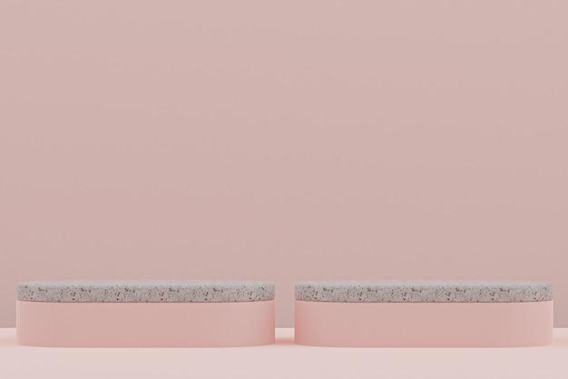 Étagère de podium en marbre ou style minimal de stand de produit vide sur fond rose pour la présentation de produits cosmétiques.