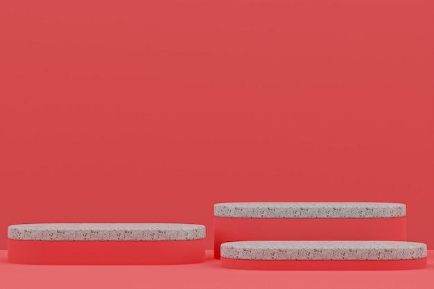 Étagère de podium en marbre ou style minimal de stand de produit vide sur fond rouge pour la présentation de produits cosmétiques.