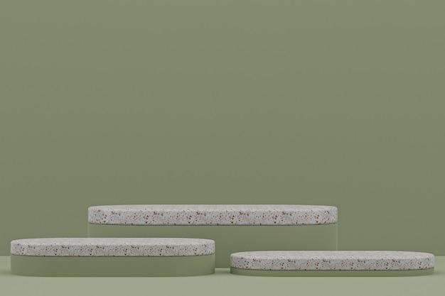 Étagère de podium en marbre ou style minimal de stand de produit vide sur fond vert pour la présentation de produits cosmétiques.