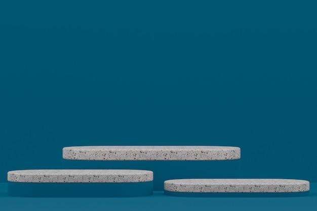 Étagère podium en marbre ou support de produit vide de style minimal sur bleu foncé pour la présentation des produits cosmétiques.