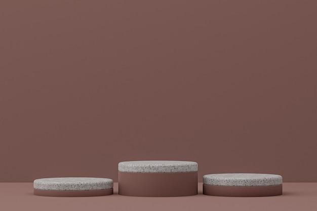 Étagère podium en marbre ou support de produit vide de style minimal sur brun pour la présentation des produits cosmétiques.