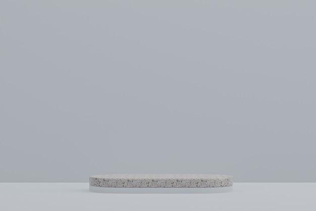 Étagère de podium en marbre ou support de produit vide de style minimal sur fond gris pour la présentation de produits cosmétiques.