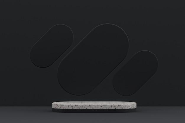 Étagère podium en marbre ou support de produit vide de style minimal sur fond noir pour la présentation de produits cosmétiques.