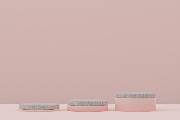 Étagère de podium en marbre ou support de produit vide de style minimal sur fond rose pour la présentation de produits cosmétiques.