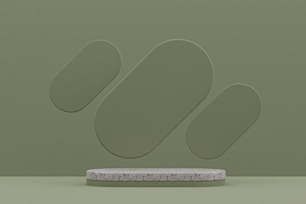 Étagère de podium en marbre ou support de produit vide de style minimal sur fond vert pour la présentation de produits cosmétiques.