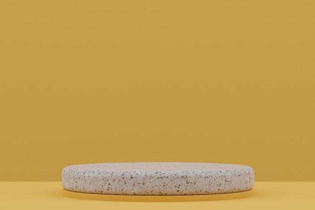 Étagère de podium en marbre ou support de produit vide de style minimal sur jaune pour la présentation des produits cosmétiques.