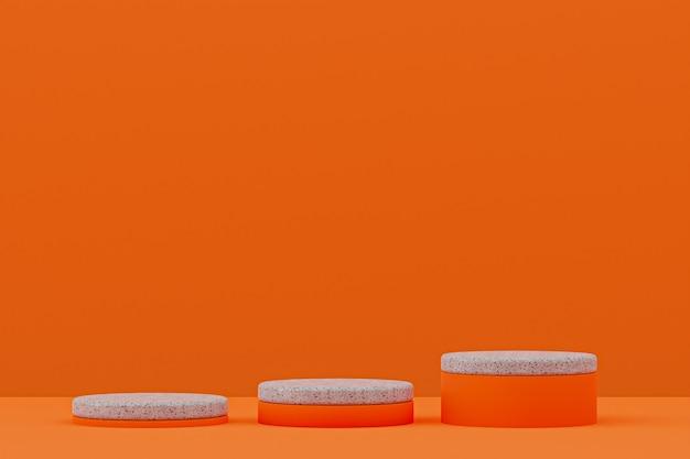 Étagère de podium en marbre ou support de produit vide de style minimal sur orange pour la présentation de produits cosmétiques.