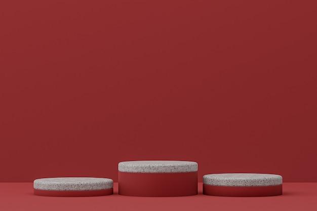 Étagère de podium en marbre ou support de produit vide de style minimal sur le rouge pour la présentation des produits cosmétiques.