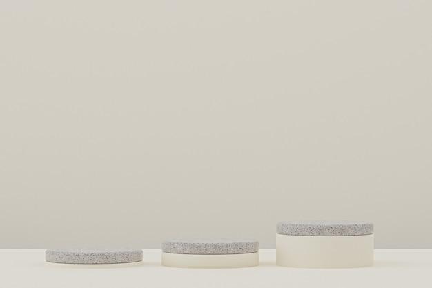 Étagère podium en marbre ou support de produit vide de style minimaliste sur beige pour la présentation des produits cosmétiques.