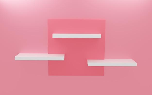 Étagère rose pastel moderne, rendu 3d