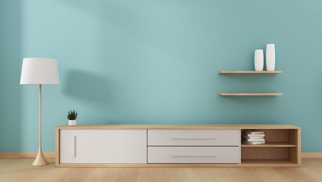 Étagère de télévision dans le style tropical moderne de la pièce menthe - intérieur de la pièce vide - design minimaliste. 3d ren