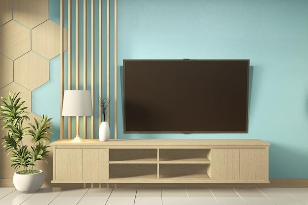 Étagère de télévision dans un style tropical moderne de la salle de la menthe - intérieur de la salle vide - design minimal. rendu 3d