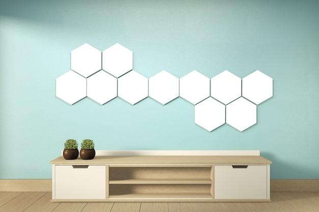 Étagère de télévision et lampe hexagonale sur le mur de la chambre à la menthe de style tropical moderne - intérieur de la salle vide - design minimal. rendu 3d