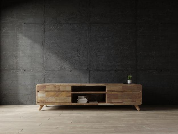 Étagère tv dans le salon moderne le mur de béton.