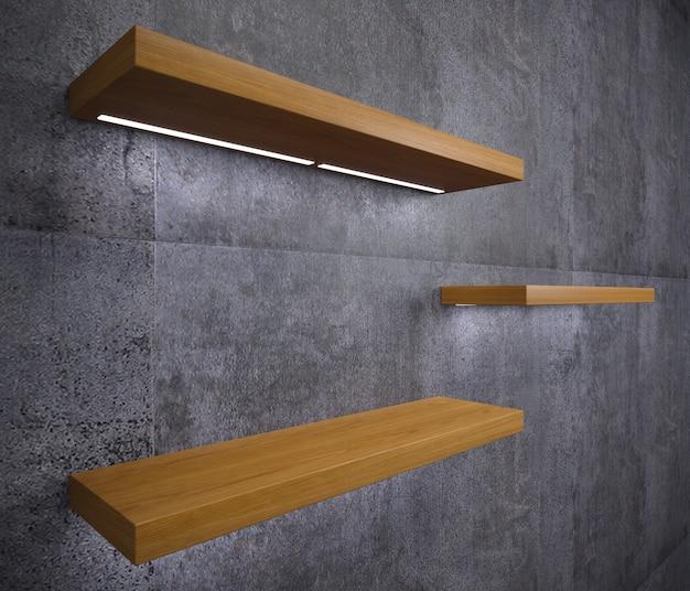 Étagères en bois modernes pour les marchandises en magasin, boutique, shopping