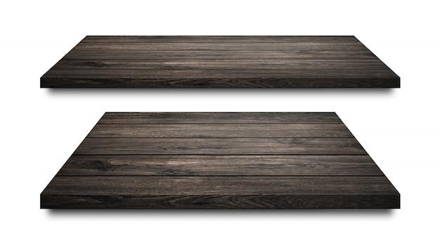 Étagères en bois noirs isolés sur blanc