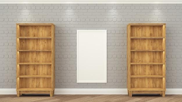 Des étagères en bois se tiennent au mur de briques grises