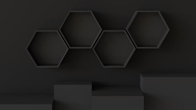 Étagères d'hexagones noirs vides et podium de boîte de cube sur fond de mur. rendu 3d.