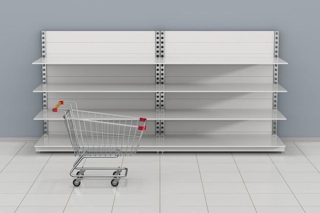Étagères de magasin vides et panier d'achat. illustration 3d
