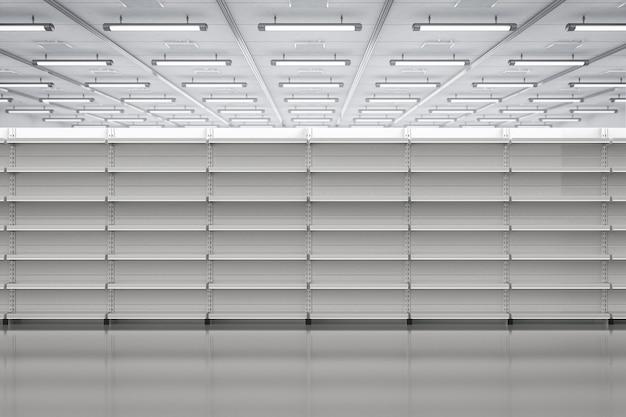 Étagères vides blanches de rendu 3d en magasin