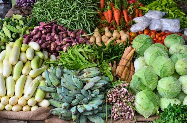 Étal de légumes. asie