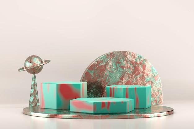 Étape abstraite pour le rendu 3d de la vitrine d'affichage du produit