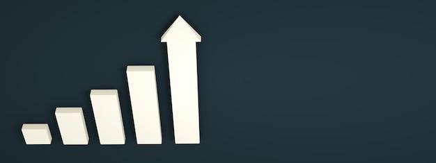 Étape d'escalier blanc vers le succès de la croissance, rendu 3d, chemin de progression, mise en page panoramique
