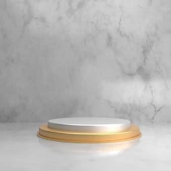 Étape de fond 3d en marbre et or pour la vitrine du produit