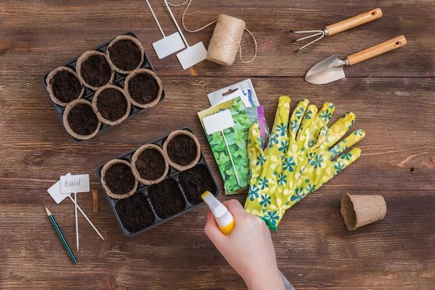 Étapes de la plantation des graines, des mains de femme pulvérisant de l'eau sur le sol dans des pots organiques