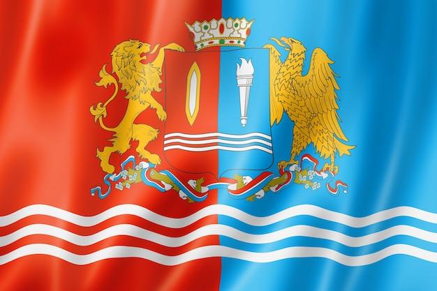 État d'ivanovo - oblast - drapeau, russie agitant la collection de bannières. illustration 3d