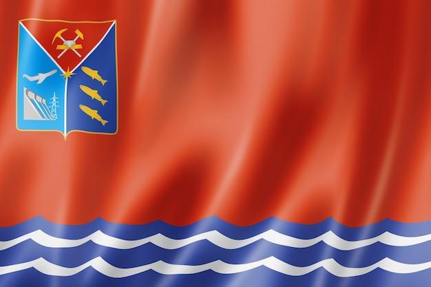 État de magadan - oblast - drapeau, collection de bannières en agitant la russie. illustration 3d
