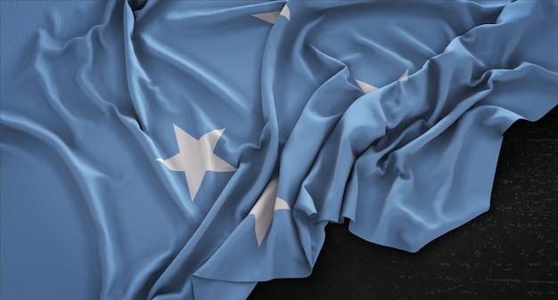 États fédérés de micronésie drapeau enroulé sur fond sombre 3d rendre