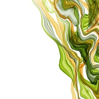 Été à la main abstrait dessiné encre aquarelle ou alcool dans les tons verts et jaunes. style branché. parfait pour la polygraphie. illustration de raster.