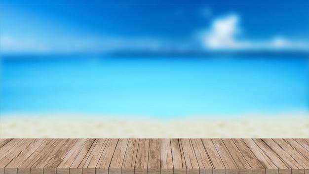 Été de maquette floue 3d table en bois de rendu donnant sur le paysage marin