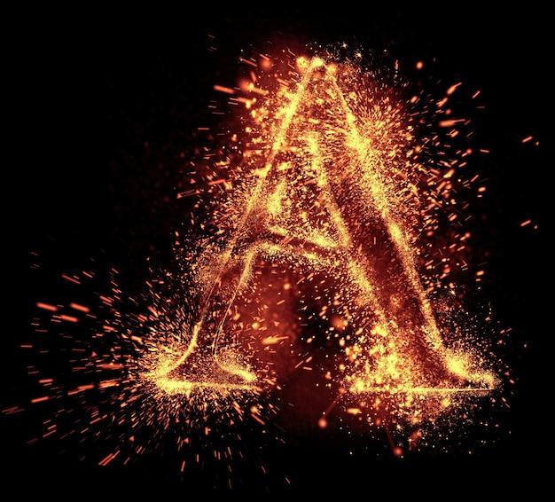 L'étincelle de l'alphabet est isolée sur fond noir