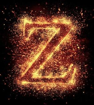 L'étincelle de lettre z est isolée sur fond noir
