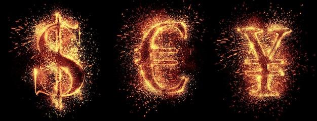 L'étincelle des symboles monétaires est isolée