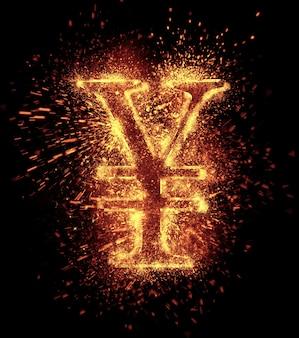 L'étincelle yuan est isolée sur fond noir