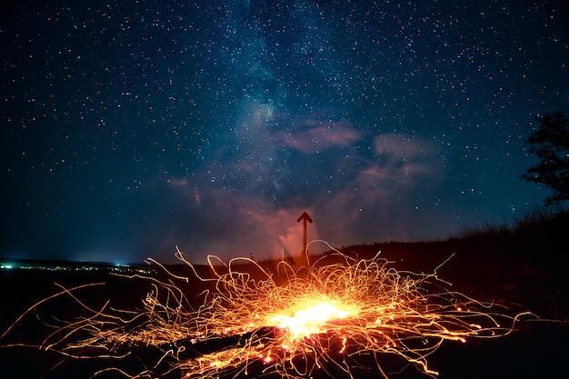 Des étincelles d'un incendie