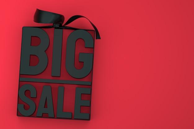 Étiquette 3d noire grande vente avec arc et ruban sur rouge isolé