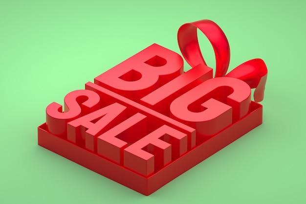 Étiquette 3d rouge grande vente avec noeud et ruban vert