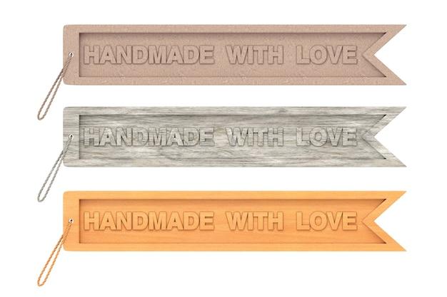 Étiquette d'artisanat en bois avec signe fait à la main avec amour et corde sur fond blanc. rendu 3d