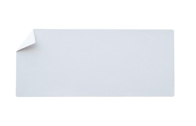 Étiquette autocollant papier isolé sur fond blanc