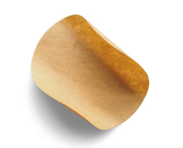 Étiquette autocollant papier rond brun isolé sur fond blanc