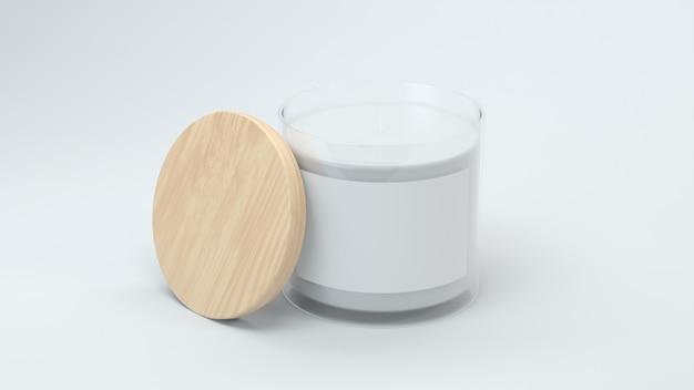 Étiquette de bougie blanche en rendu 3d